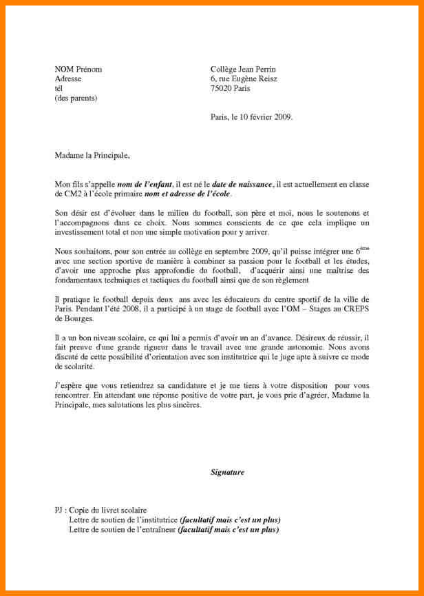 lettre de motivation ecole de sport