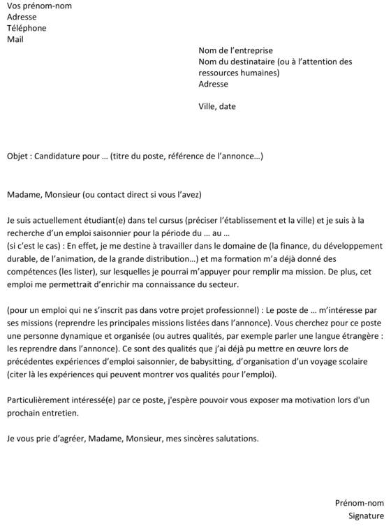 lettre de motivation stage camping