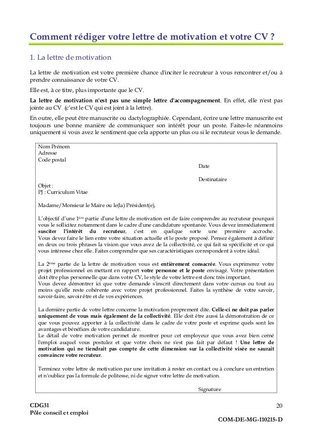 exemple de lettre de motivation pour agent administratif