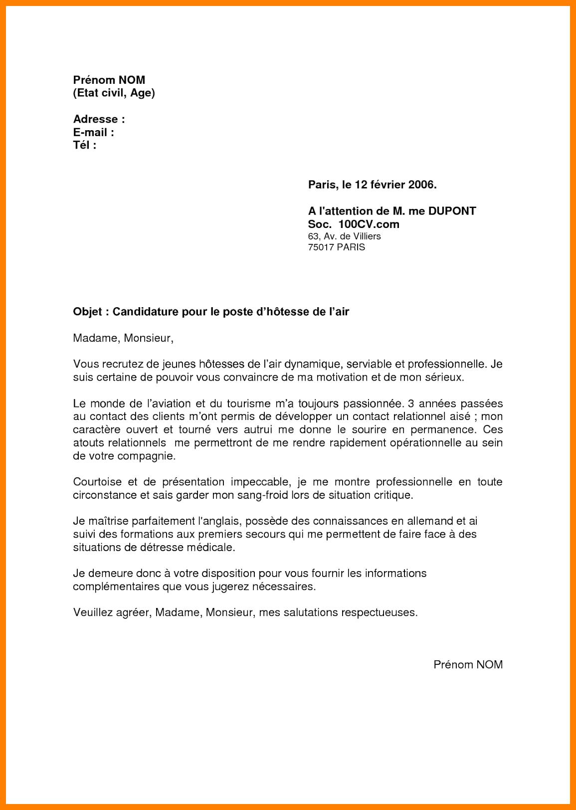 Exemple d une lettre de motivation en francais - laboite-cv.fr