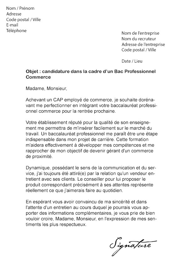 lettre de motivation stage 1ere bac pro commerce