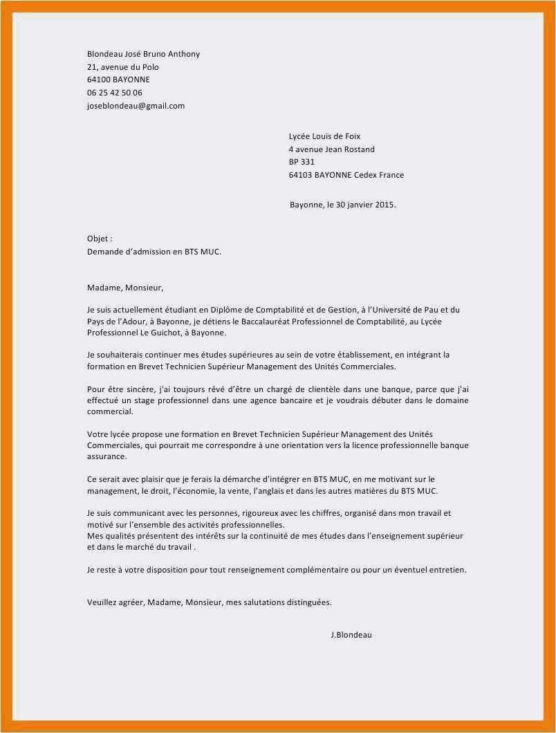 exemple lettre de motivation pour bts communication