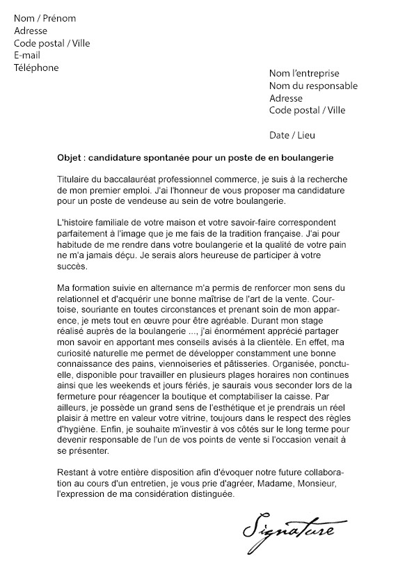 exemple de lettre de motivation pour vendeuse en