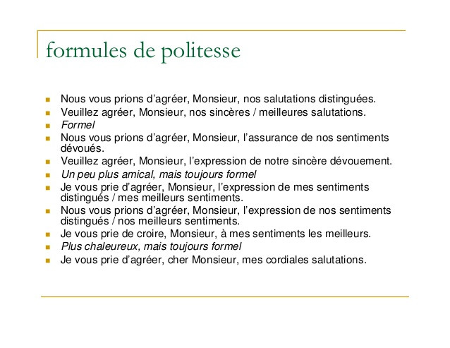 phrases de salutations lettre de motivation