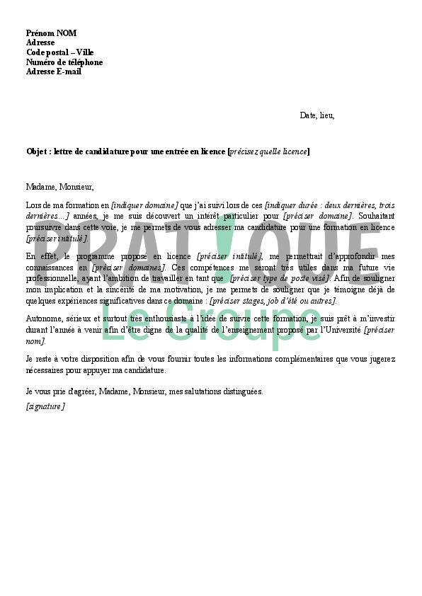 Exemple lettre de motivation fac de bio - laboite-cv.fr