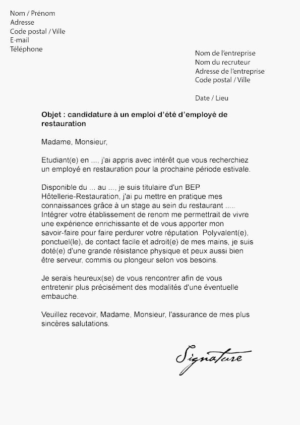 lettre de motivation stage agent de restauration