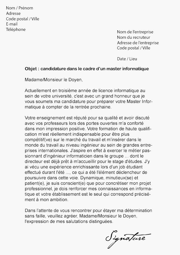 lettre de motivation bac pro ms