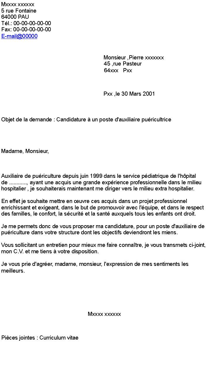 lettre de motivation auxiliaire de pu u00e9riculture gratuite