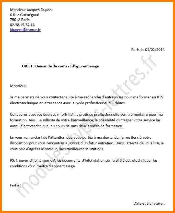 lettre de motivation contrat d u0026 39 apprentissage bac pro