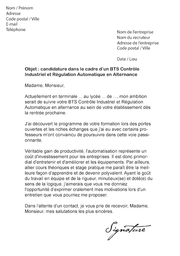 lettre de motivation candidature bac pro