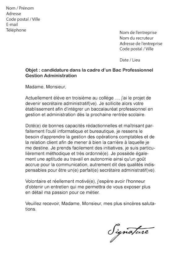 lettre de motivation stage bac pro mei
