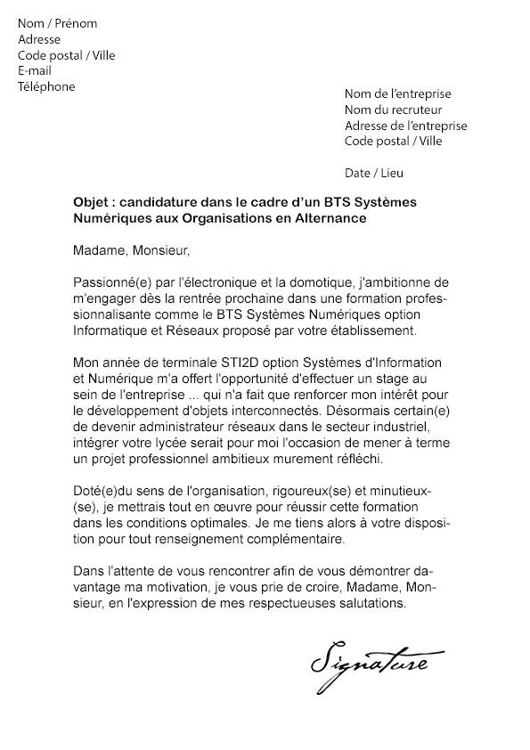 lettre de motivation bts design textile