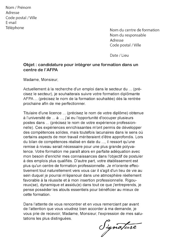 lettre de motivation formation technicien de l