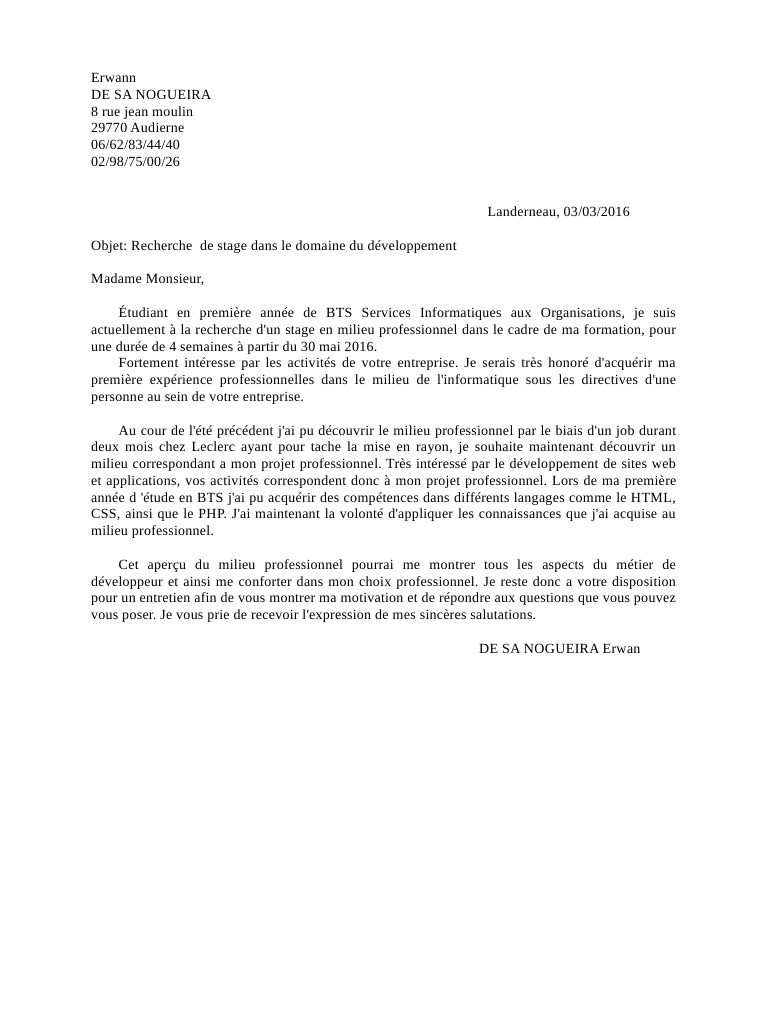 bts services informatiques aux organisations lettre de