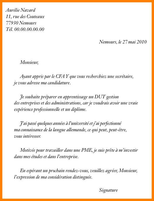 exemple de lettre de motivation de candidature spontan u00e9e