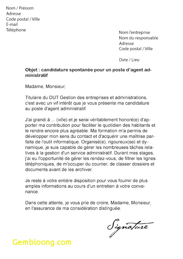 type de lettre de motivation candidature spontan u00e9e
