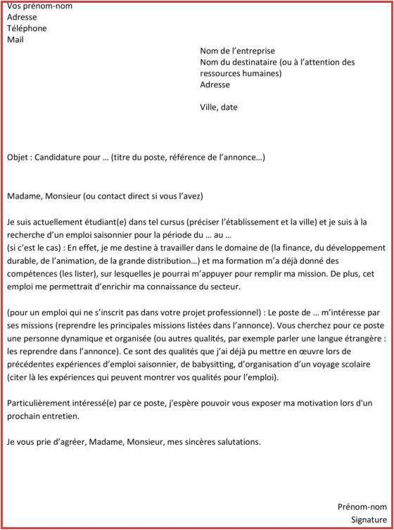 lettre de motivation titre