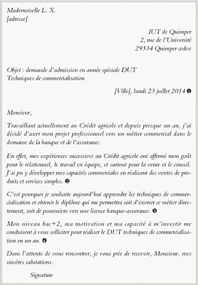 lettre de motivation licence pro banque credit agricole