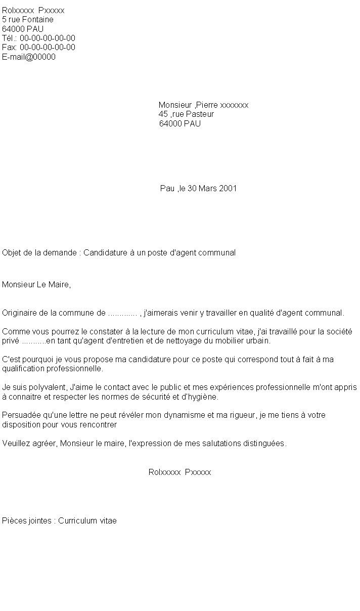 modele lettre de motivation pour agent d u0026 39 entretien