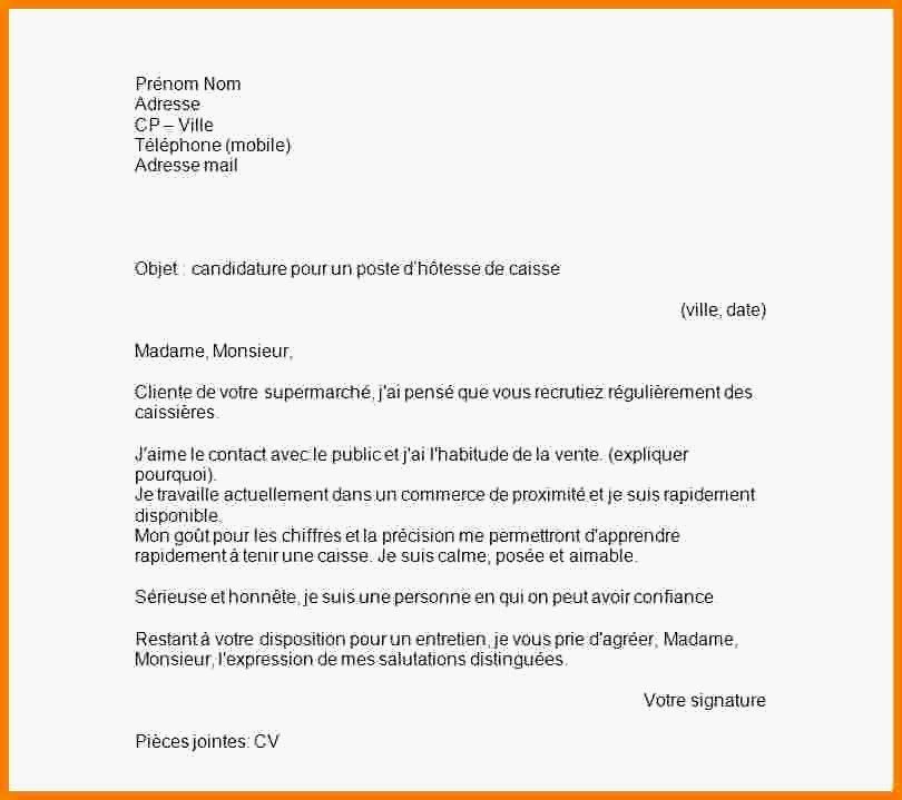 lettre de motivation hotesse de caisse gratuite