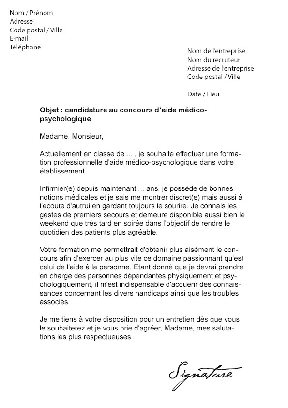 exemple lettre de motivation infirmier psychiatrie
