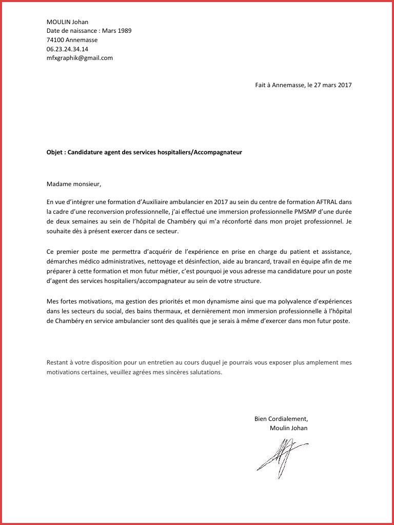 lettre de motivation d u0026 39 auxiliaire ambulancier