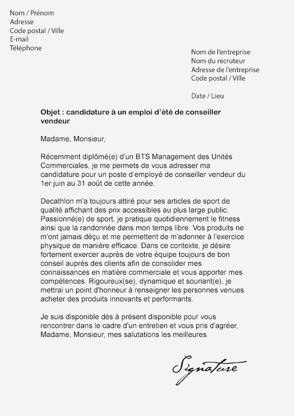 lettre de motivation job d u0026 39  u00e9t u00e9 vendeur