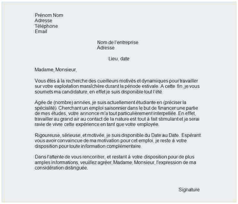 exemple lettre de motivation emploi saisonnier supermarch u00e9