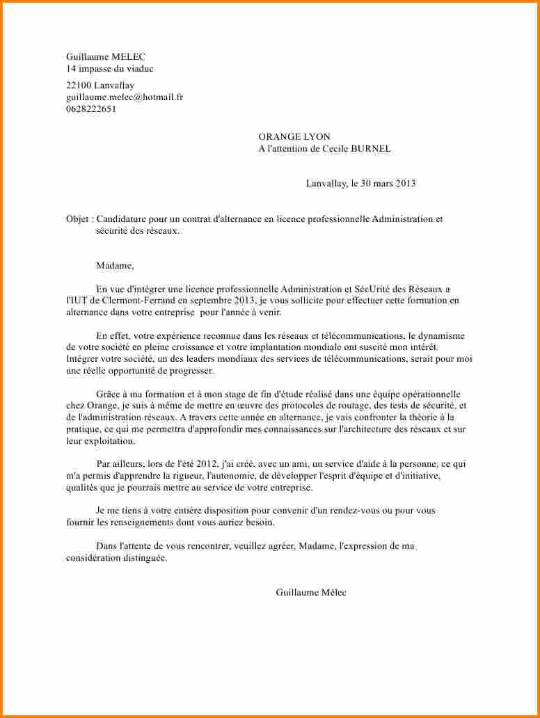 lettre de motivation pour inscription en licence