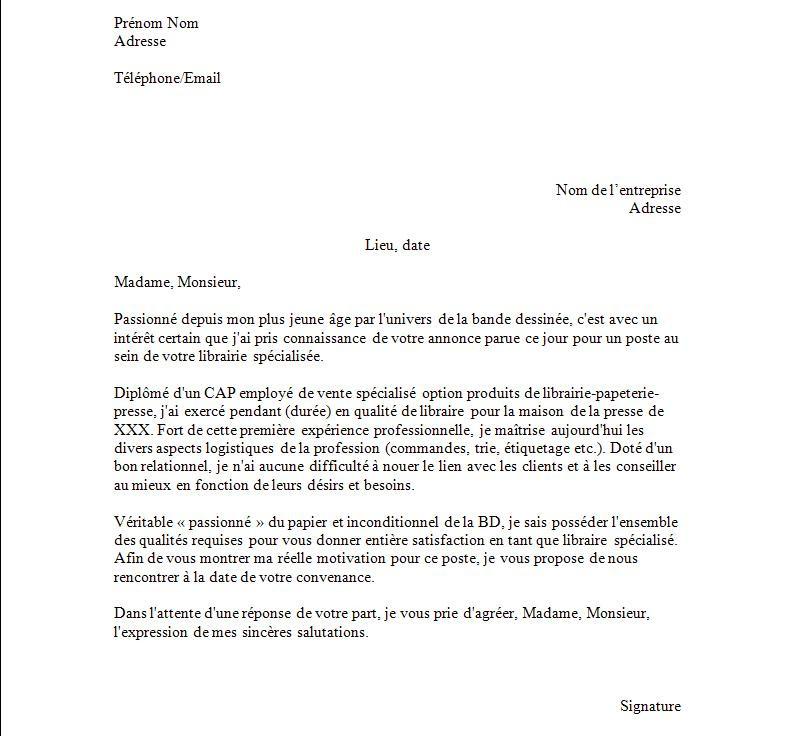 lettre de motivation librairie papeterie