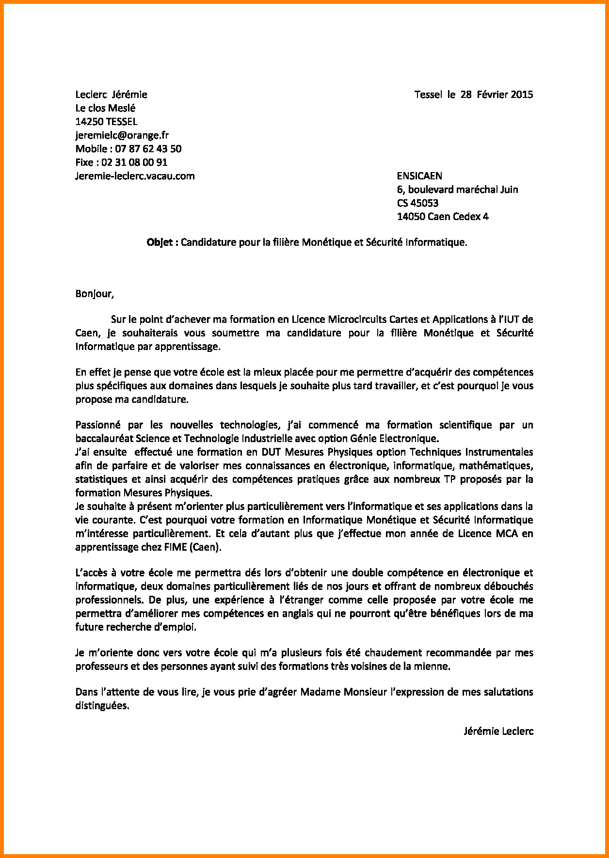 lettre de motivation candidature lyc u00e9e