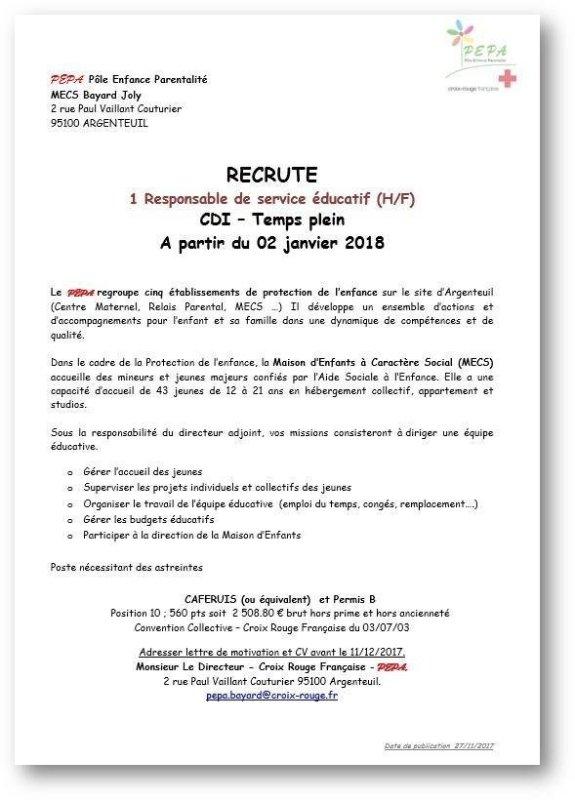 lettre de motivation pour la croix rouge