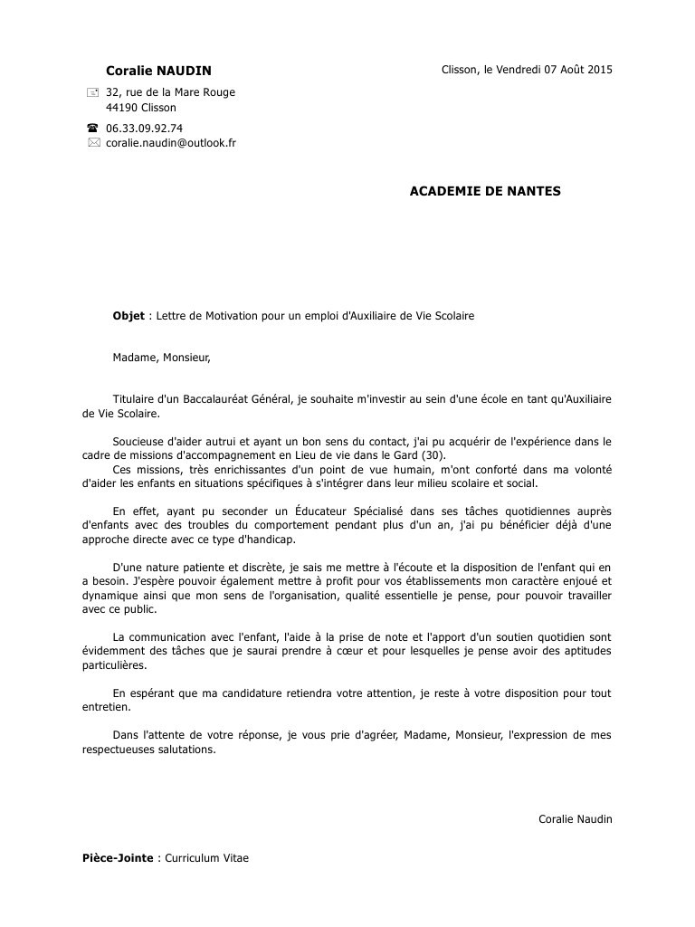 lettre de motivation avs ecole primaire