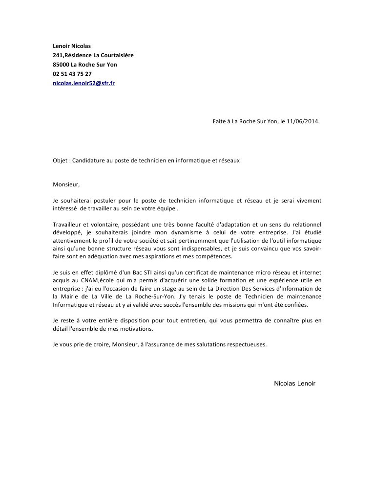exemple de lettre de motivation pour bilan de competence
