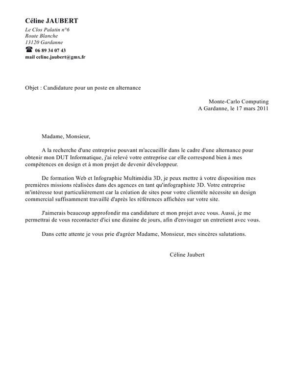 lettre de motivation alternance objet