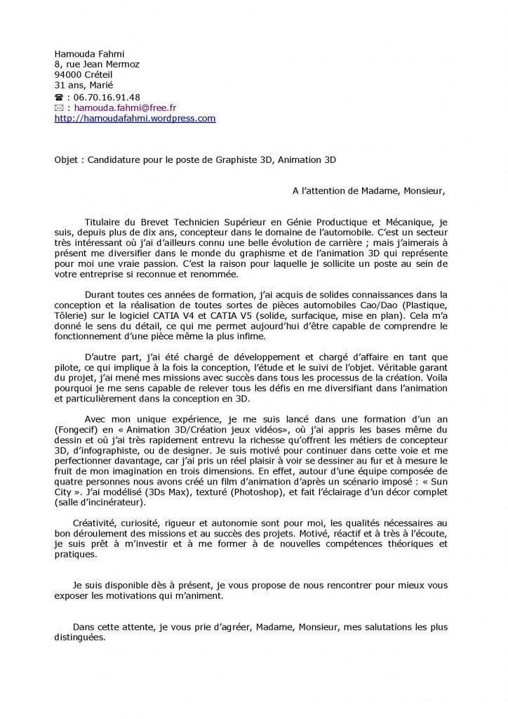 lettre de motivation master 1 biologie cellulaire