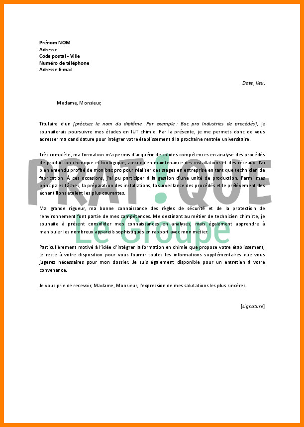 lettre de motivation dut production hygi u00e8ne s u00e9curit u00e9