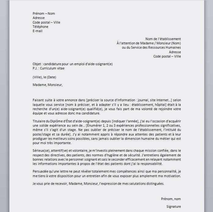 lettre de motivation pour formation d aide soignante