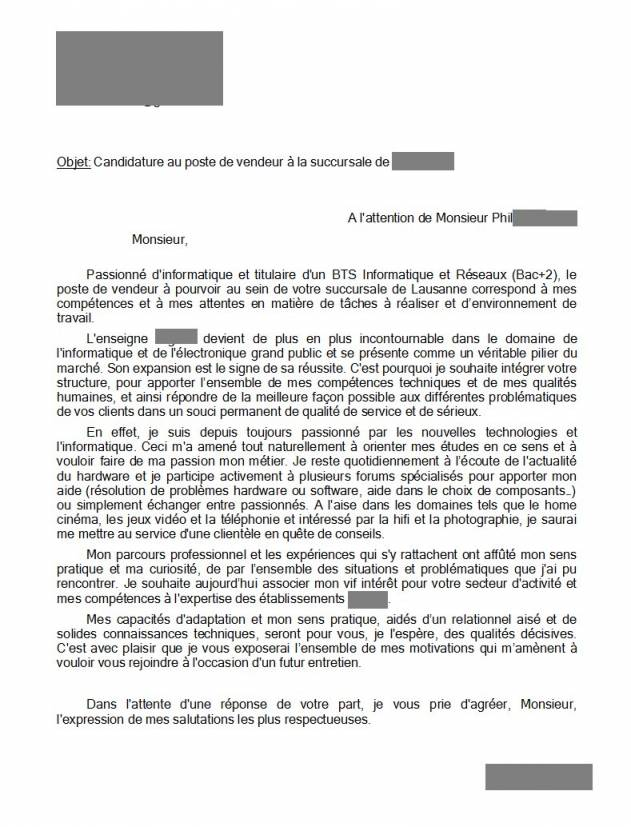 lettre de motivation licence 1 informatique