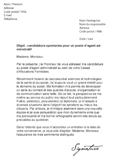 lettre de motivation candidature spontan u00e9e agent
