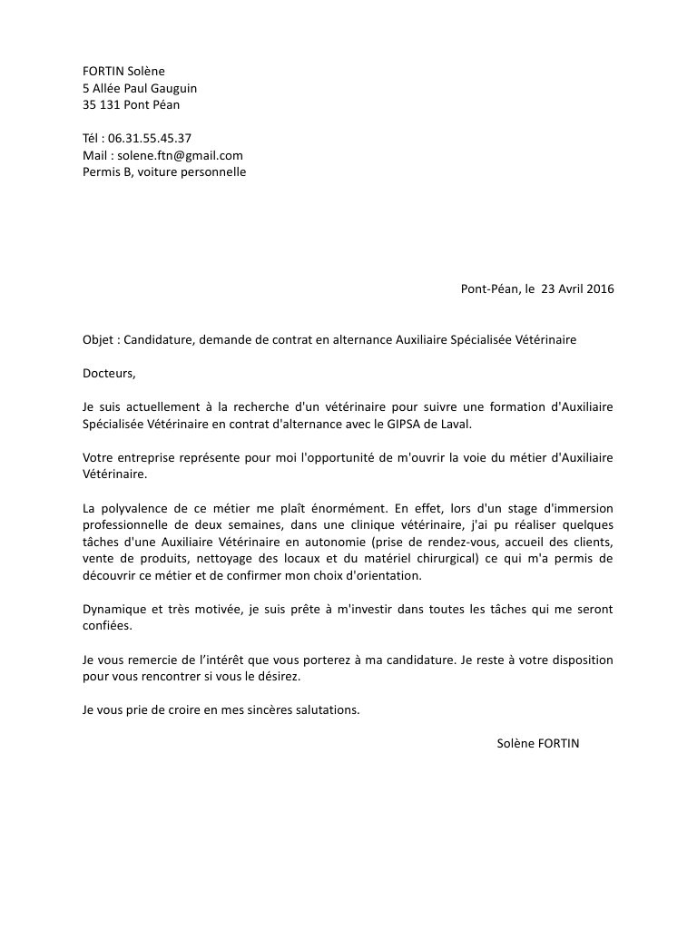 lettre de motivation stage veterinaire 3eme