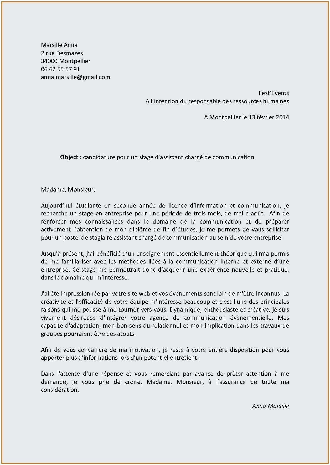 lettre de motivation stage assistant ressources humaines