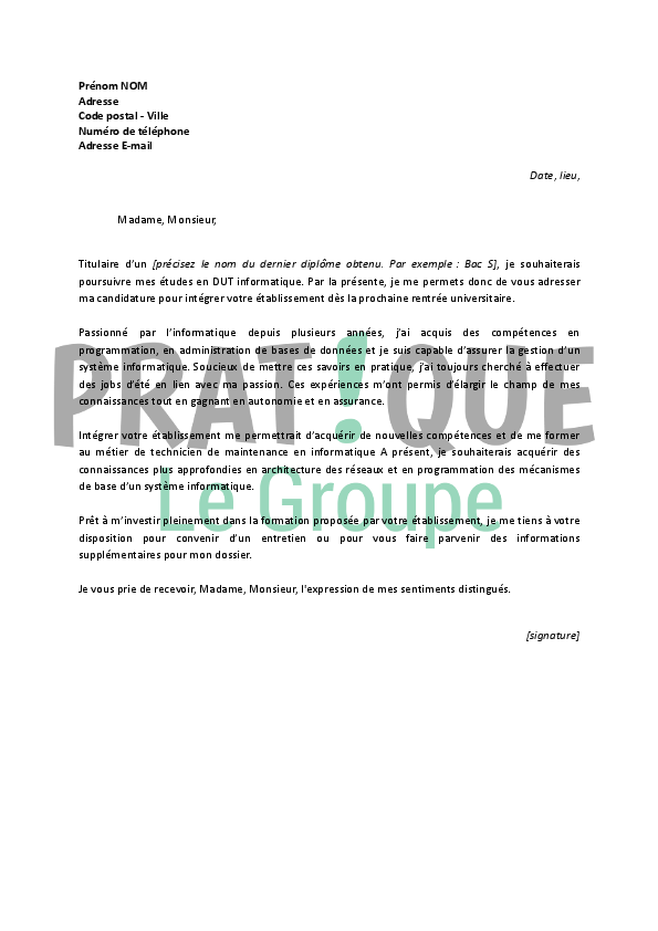 exemple lettre de motivation iut informatique