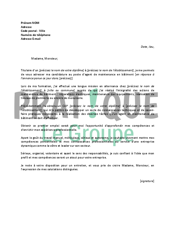 lettre de motivation agent maintenance