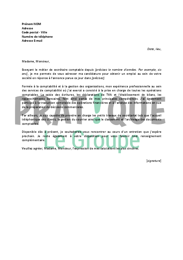 lettre de motivation comptable exp u00e9riment u00e9