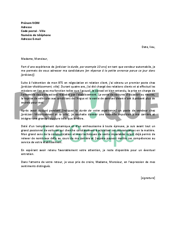 lettre de motivation vendeur voiture