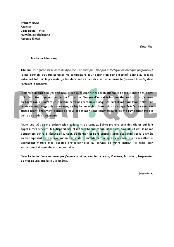 lettre de motivation spontan u00e9e esth u00e9ticienne