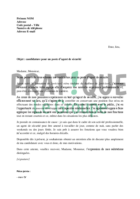 lettre de motivation adjoint de s u00e9curit u00e9 dans la police