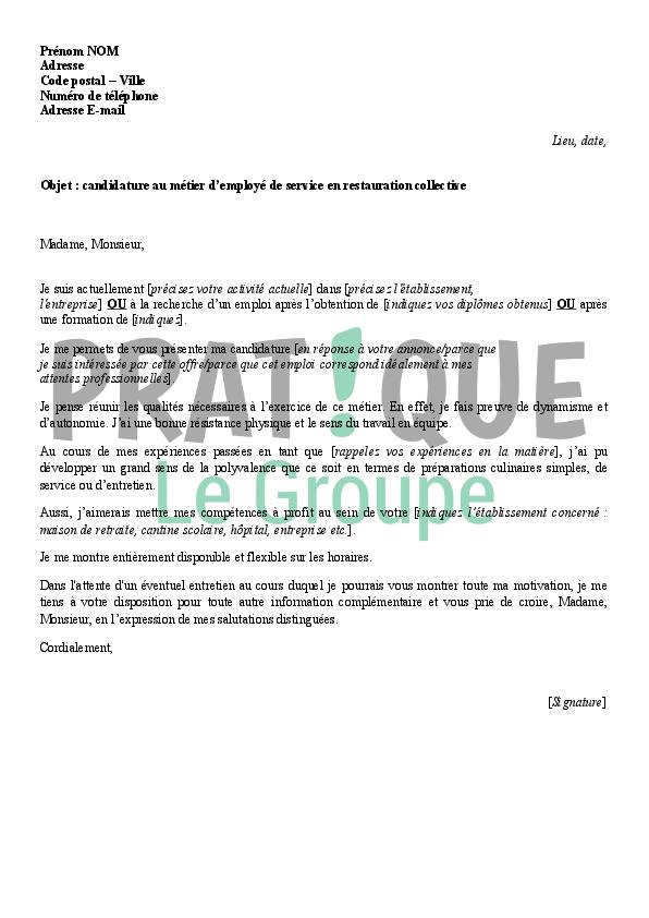 lettre de motivation agent d u0026 39 entretien restauration