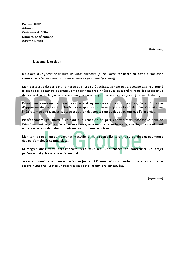 lettre de motivation employ u00e9 fruits et l u00e9gumes